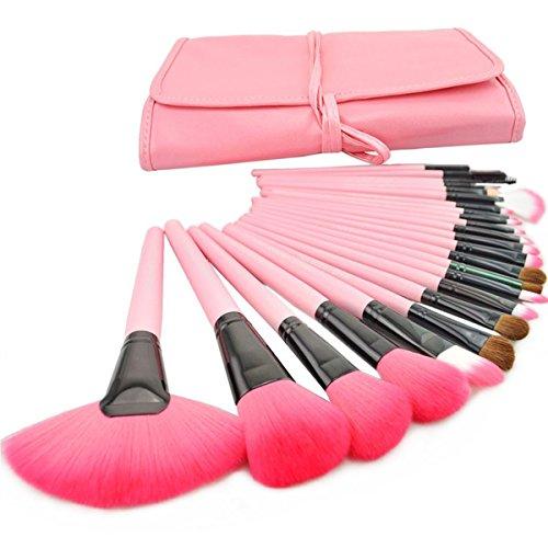 La Haute Lot de 24 pinceaux de maquillage Kabuki professionnel poudre fond de teint visage Blush Estompeur Kit de pinceaux cosmétiques avec étui en cuir synthétique