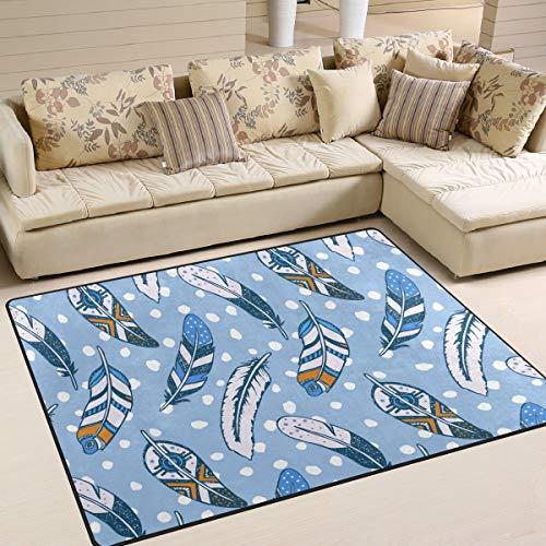 Tenboya Rugs - Alfombra Antideslizante para salón o Dormitorio (120 x 160 cm), diseño de atrapasueños con Plumas Azules, Tela, 120x160cm (4' x 5'Feet)