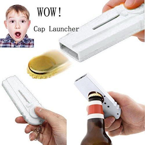 Korkenzieher Flaschenöffner Bier Drink Cap Launcher Top Shooter Schlüsselanhänger Geschenk Upxiang Flying Zappa (Weiß) -
