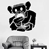 Funny Monkey Smoking Wall Stickers For Living Room Mural Art Vinyl Home Decor Removable Decal Boy Bedroom Cool Poster Hot L42cm x 44cm