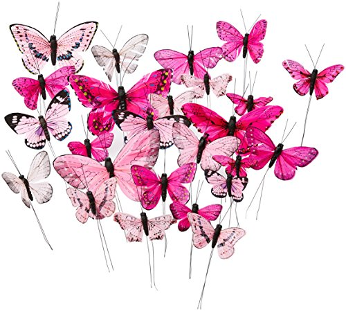 Tortendekoration | 24 Schmetterlinge, pink