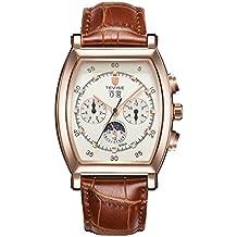 857ad9549f54 Prettyia Reloj De Pulsera Mecánico Automático TEVISE para Hombres  Ocasionales con Cuero Genuino - Dial de