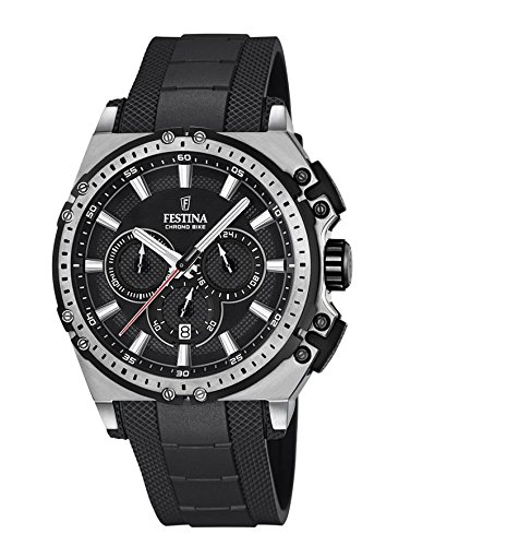 Festina CHRONO BIKE 2016 Men's Quartz Watch with Black Dial Chronograph Display and Black Rubber Strap F16970/4