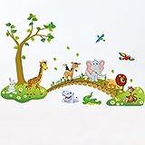 SIMPVALE Cartoon Animaux Stickers Muraux Enfants Chambre Salle Autocollants Amovibles Décoratifs