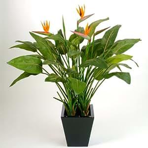 Strelitzia artificiel, 43 feuilles, 5 fleurs, orange, 130 cm - plante artificielle / fausse fleur - artplants