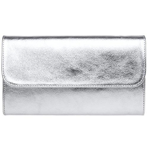 CASPAR TL779 Damen echt Leder Metallic Envelope Clutch Tasche Abendtasche, Farbe:silber;Größe:One Size -