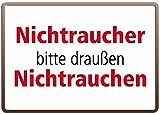 RV Blechschild 10x15 cm NICHTRAUCHER bitte draußen NICHTRAUCHEN Spruch Sprüche Sign Blechschilder Schild Schilder 15001
