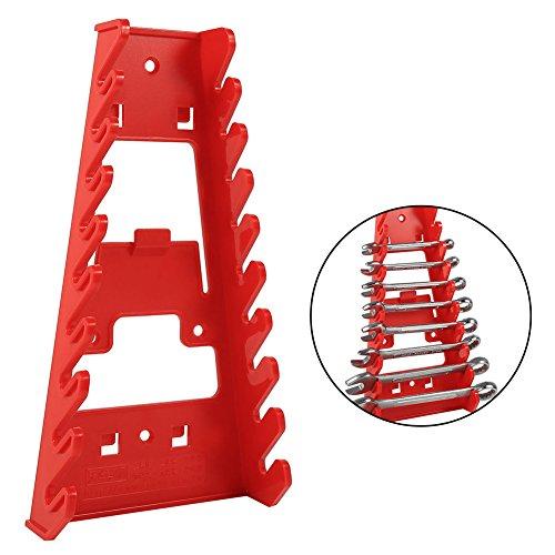 Schraubenschlüsselhalter zur Wandmontage, Kunststoff, für 9 Schraubenschlüssel, Halter für Ring-Maulschlüssel, rot