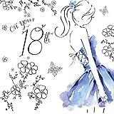 Twizler Geburtstagskarte, für Damen, zum 18. Geburtstag, mit Swarovski-Kristallen besetzt, silberfoliert, Aquarell-Effekt, Motiv Cocktailkleid.