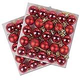 50 Stück Packung Miniatur glänzende & Matt Weihnachtsbaum Kugeln in Verschiedenen Farben - Rot