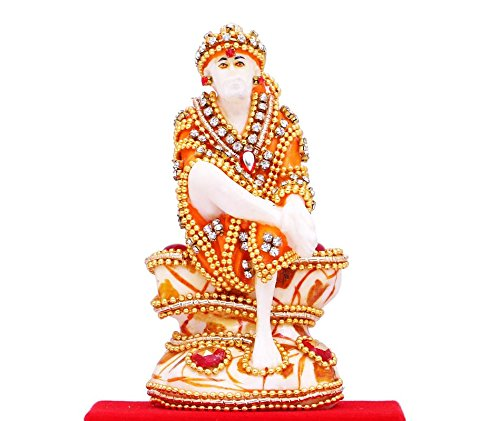 Papilon Handmade Gold Plated Sai baba Spiritual idols Decorative Puja / Vastu Showpiece Religious Pooja Gift item & Murti for Mandir ,Temple,Home Decor & Office