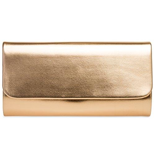 CASPAR TA404 Damen Baguette Clutch Tasche Abendtasche, Farbe:roségold;Größe:One Size