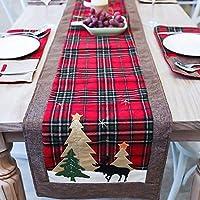 مفرش طاولة عيد الميلاد بتصميم شجرة وغزلان من دوتبت، مناسب للعائلة والعطلة والكريسماس وطاولة عشاء وحفلة عيد الميلاد (الشجرة والغزلان)