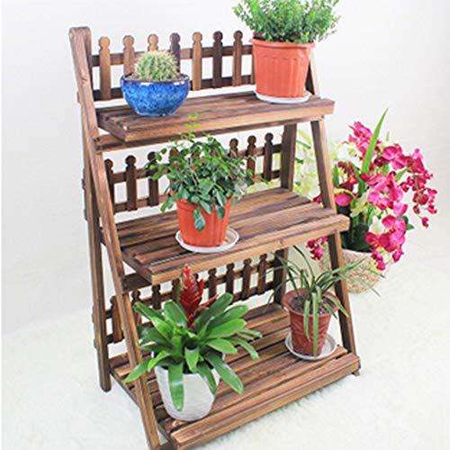 CRUOQ Faltender Blumenständer aus massivem Holz, karbonisierter Blumenständer, dreistöckiger Blumentopfständer, Wohnzimmer-Balkonregal, Gartenblumenständer