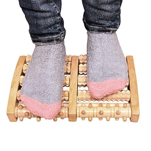 Sollievo dal dolore di legno del rullo del massaggiatore del piede doppio per il massaggiatore del tallone del piede di agopressione del tessuto profondo