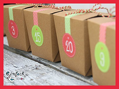 Calendario dell' Avvento scatole regalo M Forza rosso/verde carta kraft scatole da riempire fai da te