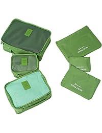 Molain 6-en-1 Set de Organizador de Equipaje, Impermeable Organizador de Maleta Bolsa para Ropa Sucia de Viaje, Material Nylon