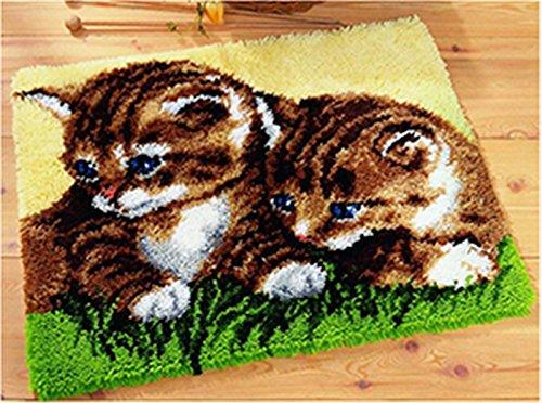 Beyond Your Thoughts Knüpfteppich für Kinder und Erwachsene zum Selber Knüpfen Katze Teppich Latch Hook Kit Child Rug Cat 571 53 * 38 cm