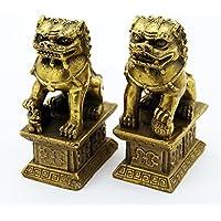 Foo chino perro león Fu bronce estatua par figuras Feng Shui artículos Oriental