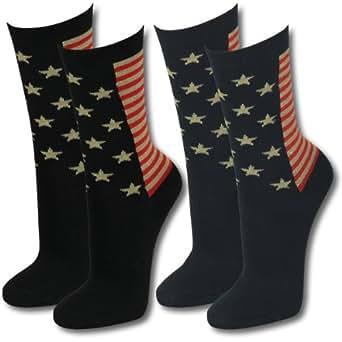 12 Paar Damen Socken Strümpfe Stars and Stripes Muster, Gold &Glitzer Gr. 35-38