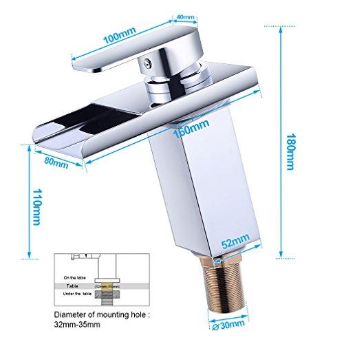 BONADE® Verchromt LED RGB Wasserfall Wasserhahn Mischbatterie Spültischarmatur für Kaltwasser und Heißwasser -