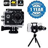 Captcha Wifi 4K Ultra HD Waterproof Sports Camera With 2 Inch LCD Display With 8X Zoom Telescope Mini Stand Compatible With Xiaomi, Lenovo, Apple, Samsung, Sony, Oppo, Gionee, Vivo Smartphones (One Year Warranty)