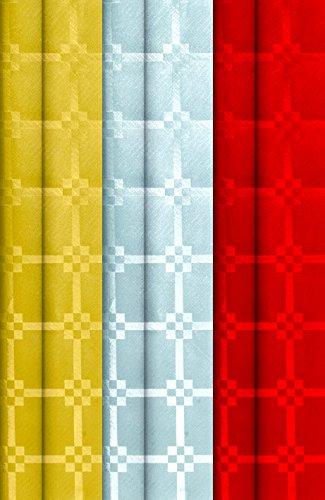 GIRM B128755 Rotoli di carta damascata Rosso,Argento,Oro 3pz. - Tovaglia rossa natale, tovaglia di carta oro, tovaglia di carta argento, tovaglia di carta rossa, tovaglia natale, rotoli tovaglia