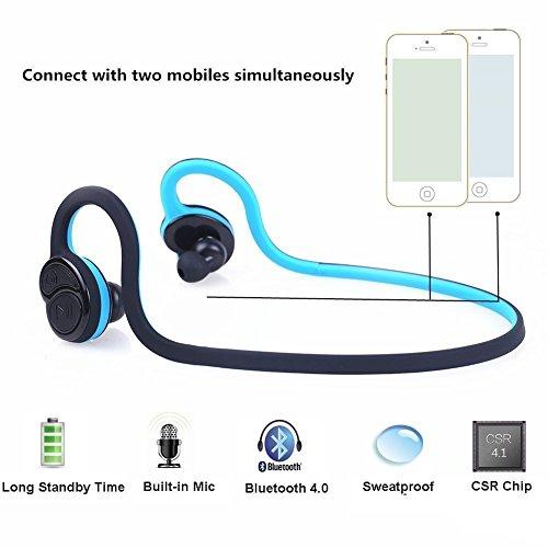 Kopfhörer in Ears, Miya Wireless Stereo Bluetooth 4.0 mit Sweatproof Noise Cancelling Kopfhörer für Sport Gym Workout mit Mikrofon für iPhoneX iPhone 8/8Plus SamsungS9/S9 Plus-Blau