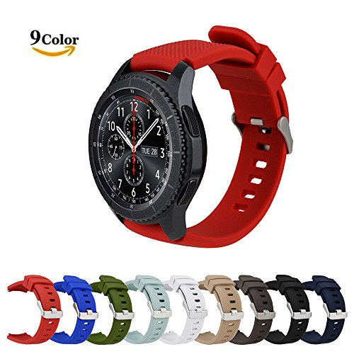MroTech Correa de Reloj para Gear S3, [Serie Deportiva] Pulsera de Silicona 22mm Watchband Repuesto de Correa para Reloj Samsung Gear S3 Frontier/Classic, Moto 360 2 46mm, Pebble Time (Rojo)