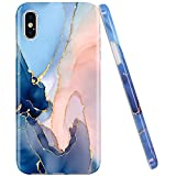 Jaholan Coque iPhone X Coque iPhone XS Gold Glitter Sparkle Purple Marbre Design Coque TPU Gel Housse Etui Protection Ultra Fine Mince Léger Case Souple Coque pour iPhone X XS