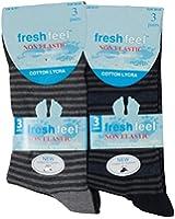 6Pairs Mens Non Elastic Multi Stripe Design Pattern Socks Easy Grip Diabetic Socks 6-11
