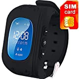 MAKECELL Samsung Galaxy A3 2017 Bluetooth compatible Q50 Kids Smart Watch | Smart Wrist Watch With GPS Tracker and Sim Support System | Tracker Functions Of Kids Safety | Calling Function & Camera |Compatible with All 3G and 4G Android & IOS Smart phones (Black)