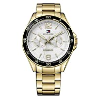 Tommy Hilfiger Men'S Silver & White Dial Ionic Thin Gold Plated 2 Steel Watch - 1791365