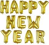 DekoRex® Happy New Year Girlande Buchstaben Ballons Folienballons Luftballons Silvester Neujahr Höhe: ca. 40cm in Gold