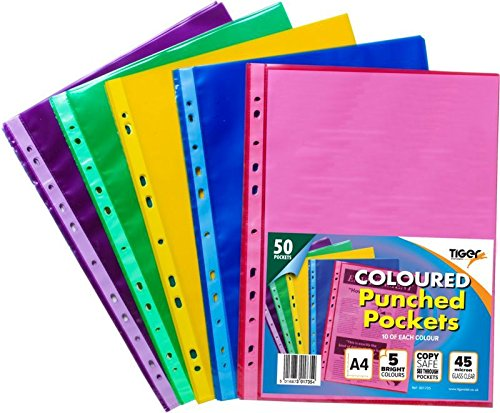 Tiger A4 50 coloured plastic wallets clear strong punched ring binder file pockets Test