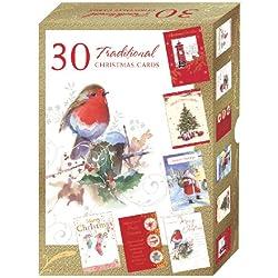 Tarjetas de felicitación navideñas de 30 unidades - carcasa varios colores unidades Tarjetas de Navidad tradicional