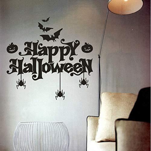 (asd137588 Happy Halloween Fledermäuse Spinne Wandaufkleber Fenster Dekoration Abziehbild Dekor Bat Kürbis Spinne Aufkleber Festival Kunst Dekoration)