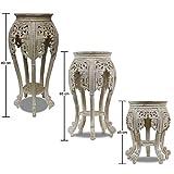 Beistelltisch Nachttisch Rundhocker Blumenhocker Teak Holz Hocker Barock Massiv, Farbe:Whitewash, Größe:80 cm