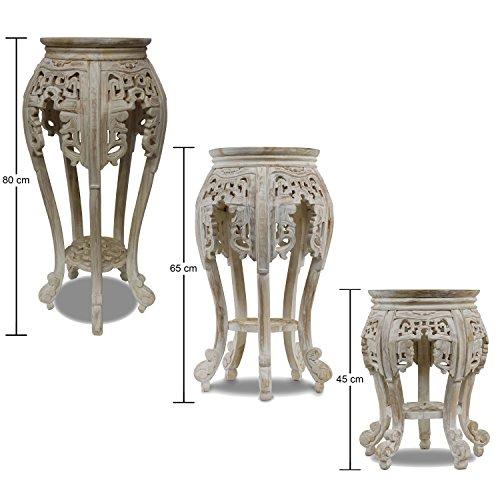 Beistelltisch Nachttisch Rundhocker Blumenhocker Teak Holz Hocker Barock Massiv, Farbe:Whitewash,...