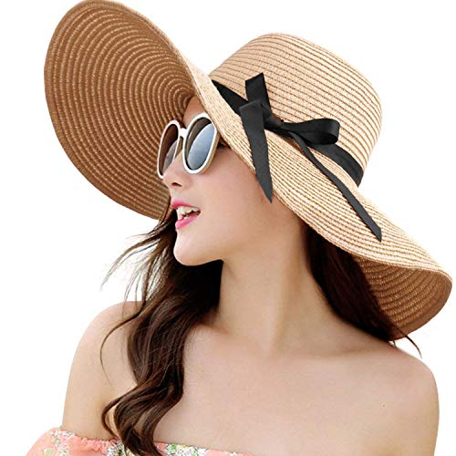 DRESHOW Damen Bowknot Strohhut Faltbarer Strand Sonnenhut Roll up UPF 50+ Park-designs, Eisen