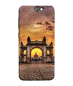 PrintVisa Designer Back Case Cover for HTC One A9 (Sky Cloud Street Light Sunset Mahal History)
