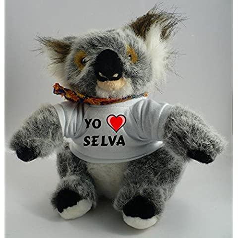 Koala personalizada de peluche (juguete) con Amo Selva en la camiseta (ciudad / asentamiento)