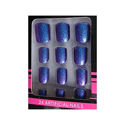 Faux Ongles + Adhésifs - Bleu Chrome caméléon