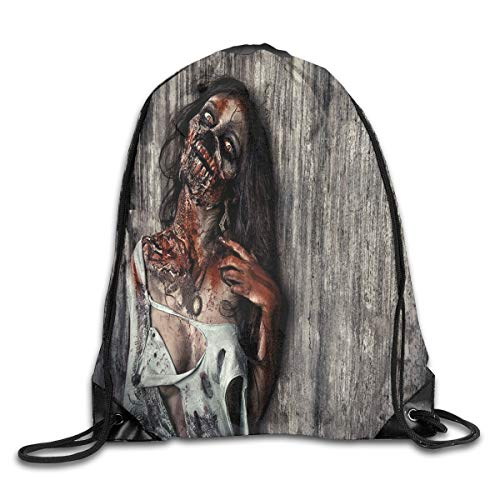 Drawstring Backpacks Bags Daypacks,Angry Dead Woman Sacrifice Fantasy Design Mystic Night Halloween Image,5 Liter Capacity Adjustable for Sport Gym Traveling ()