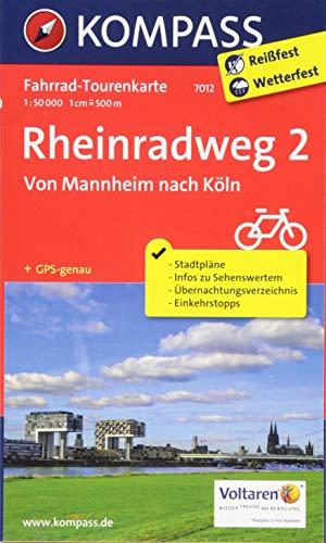 Fahrrad-Tourenkarte Rheinradweg 2, Von Mannheim nach Köln: Fahrrad-Tourenkarte. GPS-genau. 1:50000.: Fietsroutekaart 1:50 000 (KOMPASS-Fahrrad-Tourenkarten, Band 7012)