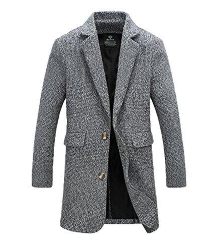 YiJee Herren Wintermantel Langer Mantel Stehkragen Übergröße Jacke Grau
