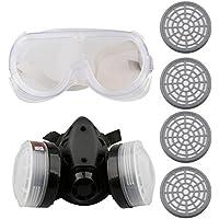 A-SZCXTOP Respirador Doble Cartucho Anti - Polvo Mascara con Gafas y 4 Cajas de Filtro