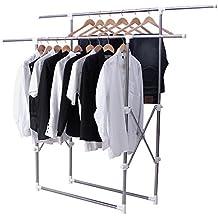 Songmics Barras para colgar ropa (altura ajustable entre 92 y 168cm) Perchero de tendedero blanco, tubo compuesto de acero inoxidable LLR501