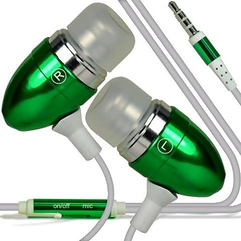 ONX3 T-Mobile Garminfone Calidad Premium en auriculares de botón estéreo de manos libres de auriculares Auriculares con micrófono Mic y botón de encendido y apagado (Verde)