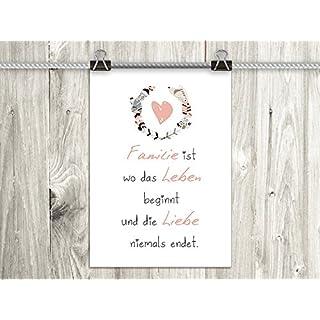 artissimo, Poster mit Spruch, Din A4, PE0086-DR, Familie ist, Bild mit Spruch, Spruchbild, Wandbild, Plakat, Kunstdruck, Zitat, Sprüche, Wanddekoration, Typographie, Typografie